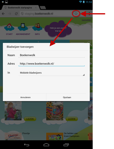 Favoriet maken van website in Chrome voor Android