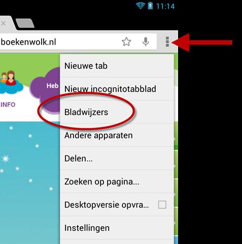 Bladwijzers openen in Chrome voor Android