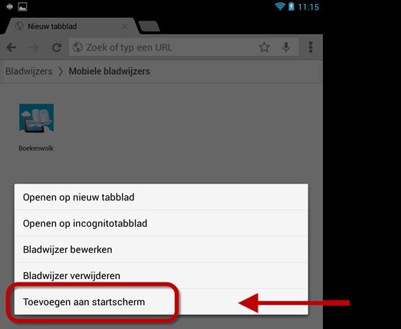 Bladwijzer toevoegen aan Android Startscherm