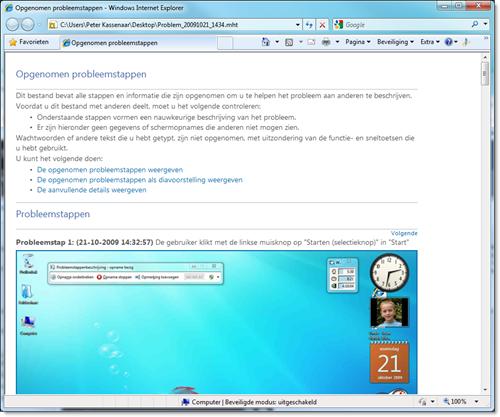 De weergave van het stappenplan in Internet Explorer
