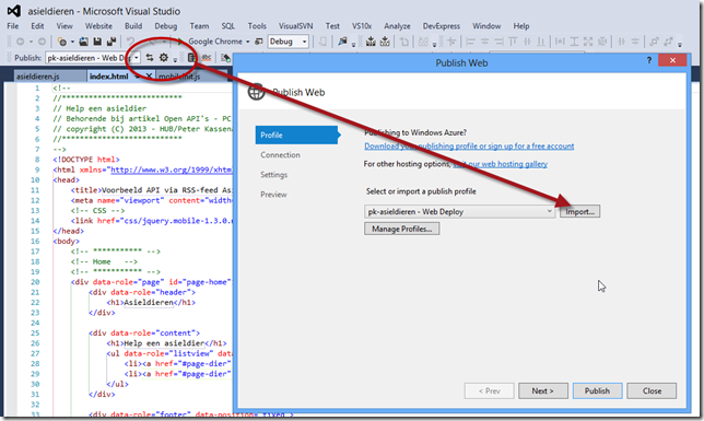 Het publicatieprofiel importeren in Visual Studio