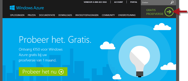Gratis aanmelden bij Windows Azure