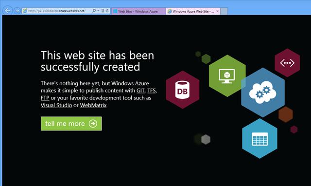 De standaard placeholder pagina bij Azure websites