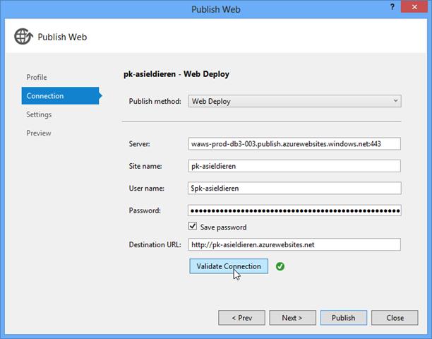 Eigenschappen voor publicatie naar Azure vanuit Visual Studio