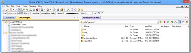 Via FTP verbonden met Azure