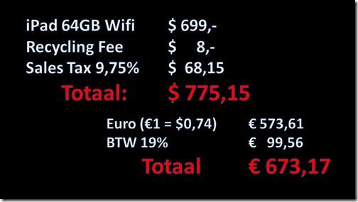 Hoeveel kost een 64GB iPad? Ongeveer 673 euro