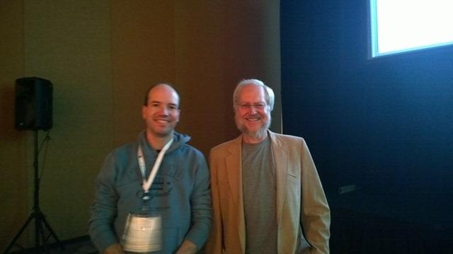 Peter Kassenaar (links) en Javascript-hero Douglas Crockford