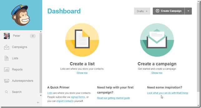 Het MailChimp Dashboard voor het maken van nieuwe lijsten en campagnes