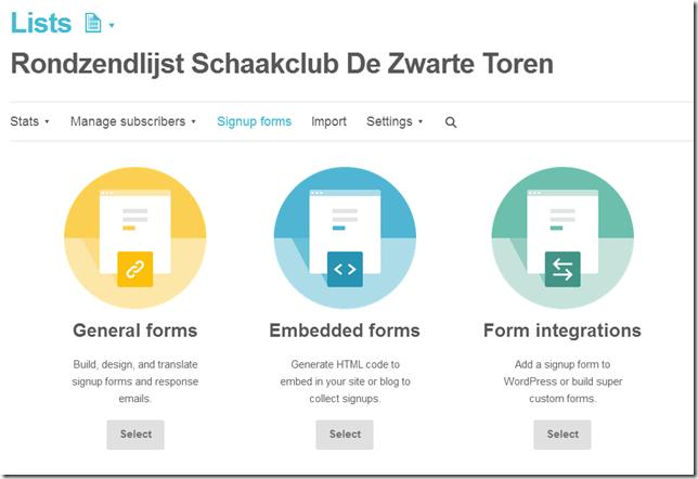 MailChimp maakt verschillende soorten aanmeldformulieren voor je