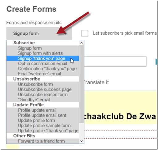 De diverse formulieren in het aanmeld- en opzegproces