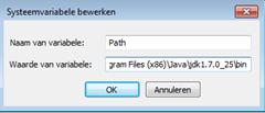 Systeemvariabele uitbreiden met pad naar Java
