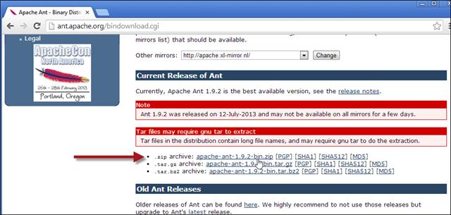 Apache Ant downloaden en uitpakken