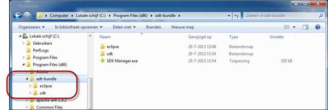 De Android Developer Tools (ADT) in de map Program Files geplaatst