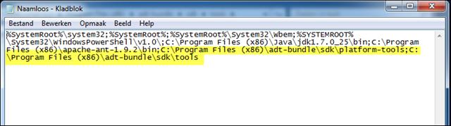 Het pad uitgebreid met variabelen voor de ADT-tools en -platform tools.