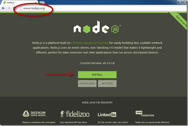 Installeer node.js