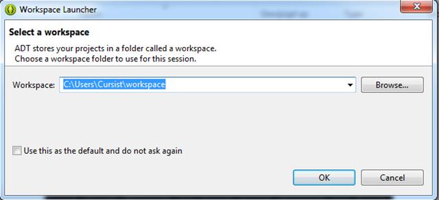 Open Eclipse voor de eerste keer en geef een Workspace-locatie op