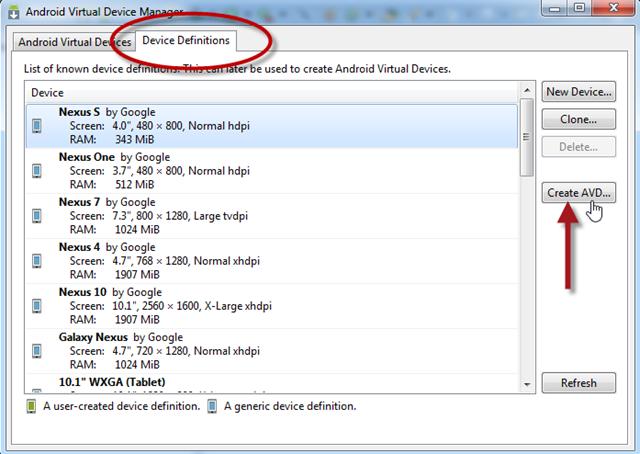 Een AVD maken op basis van bestaande device-informatie
