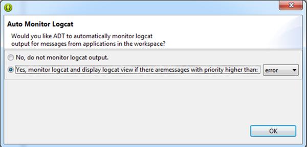 Fouten en informatie tonen in LogCat wordt aanbevolen
