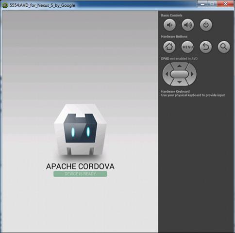 Hoera! Je app draait in de emulator