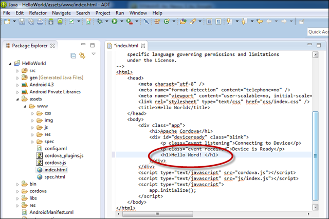 De HTML-code aanpassen in Eclipse
