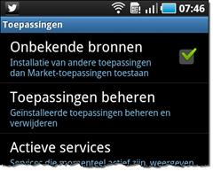Figuur 5 - Android telefoon instellen