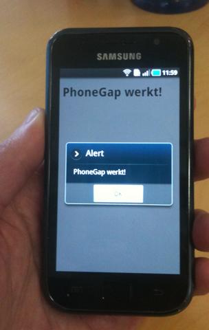 Figuur 7 - Eenvoudige PhoneGap app op telefoon