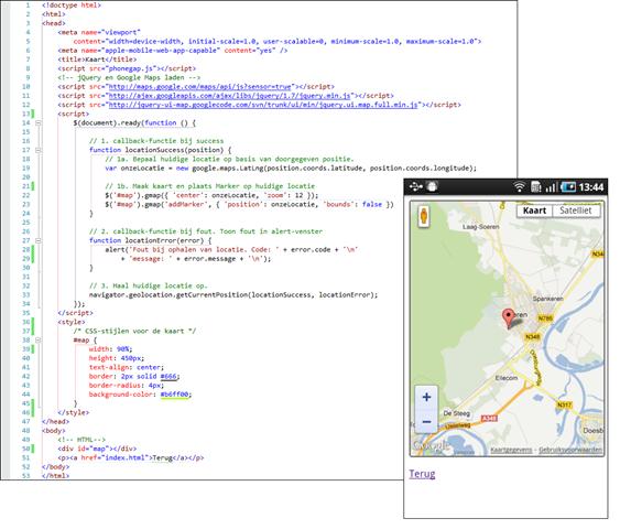 Figuur 8 - Voorbeeldcode van Google Maps met PhoneGap