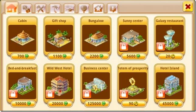 Paradise Island - Diverse typen gebouwen voor je eiland