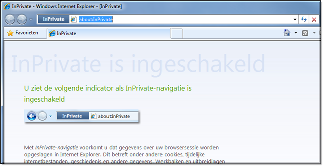 IE geopend in InPrivate modus