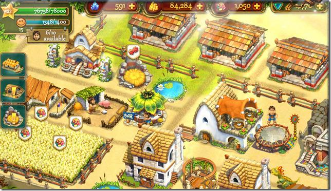 Ontwikkel het eiland met akkers, huizen, steengroeven en vermaaksitems